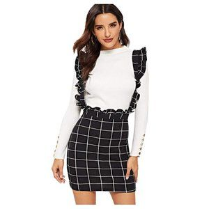 Plaid Frill Ruffle Trim Suspender Skirt